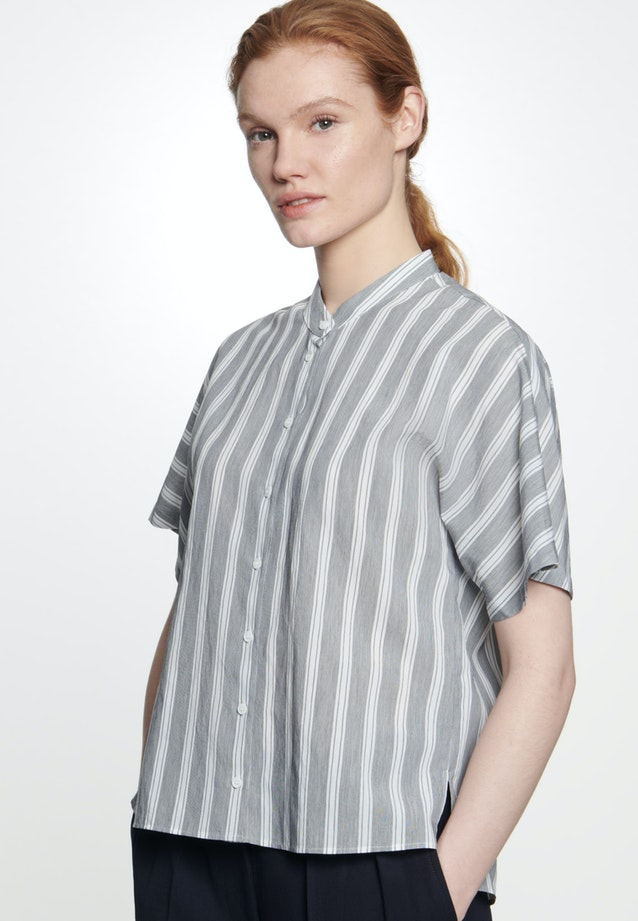 Short sleeve Popeline Stand-Up Blouse made of viscose blend in Grey |  Seidensticker Onlineshop