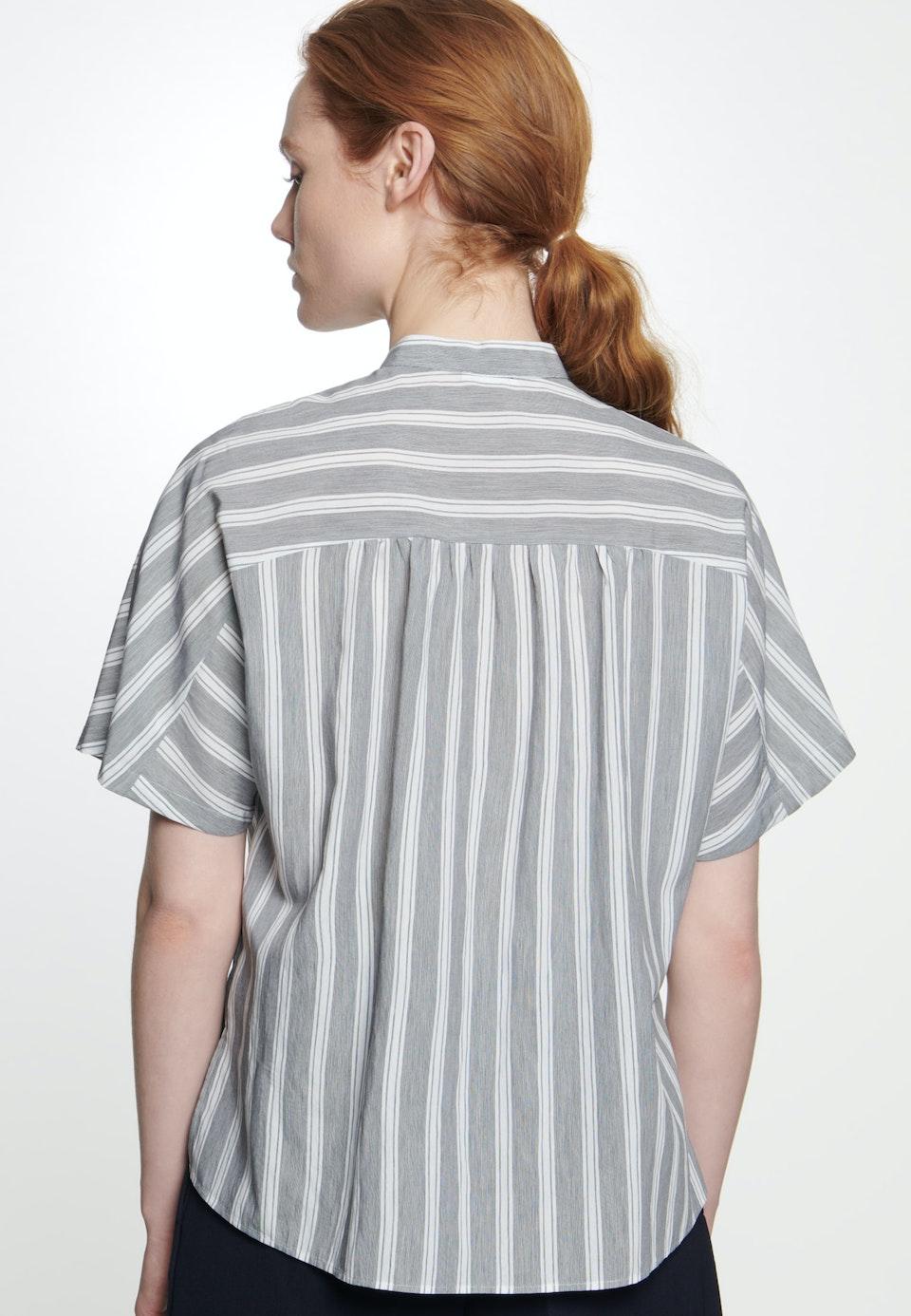 Short sleeve Poplin Stand-Up Blouse made of viscose blend in Grey |  Seidensticker Onlineshop