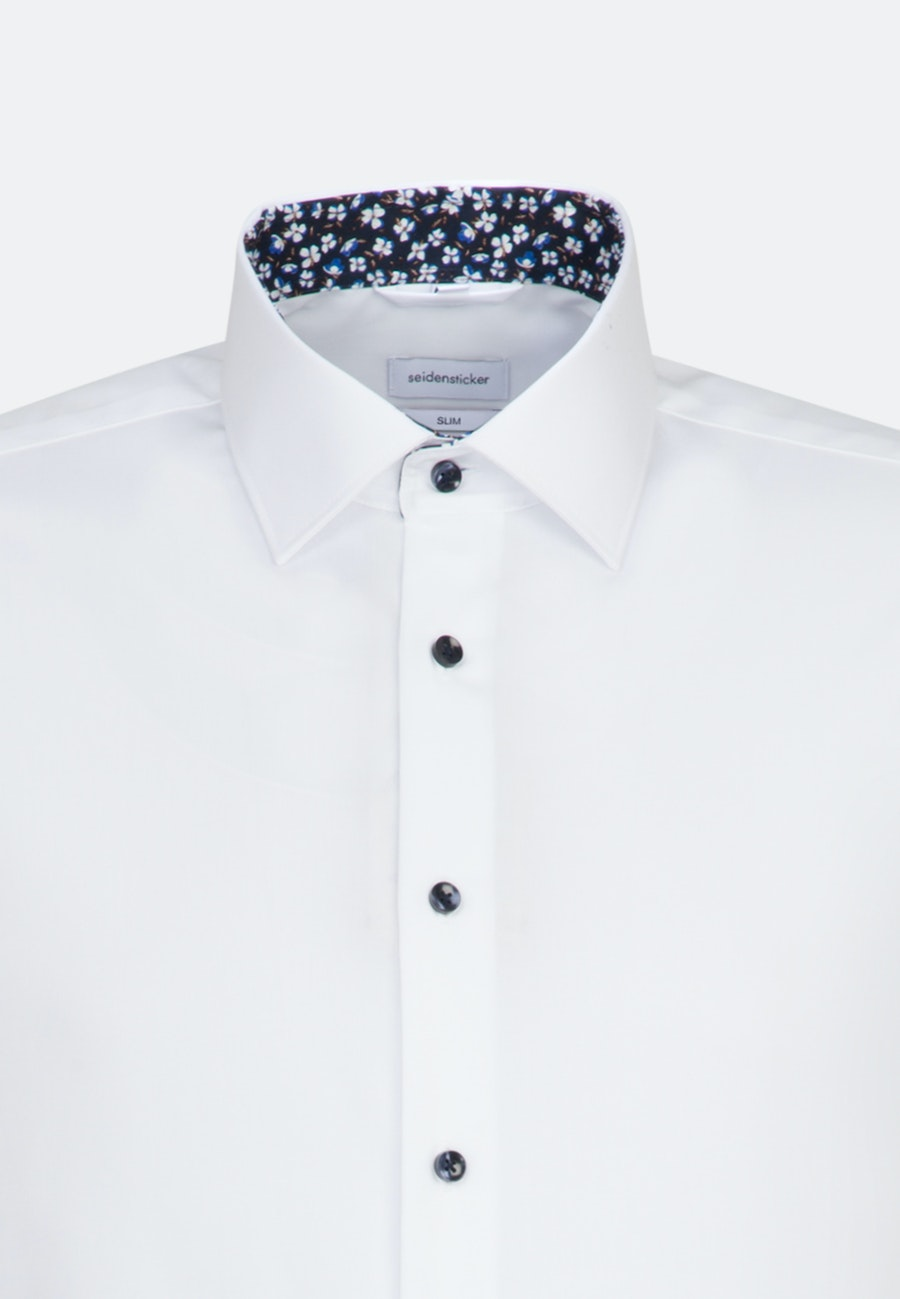 Non-iron Poplin Short sleeve Business Shirt in Slim with Kent-Collar in White |  Seidensticker Onlineshop