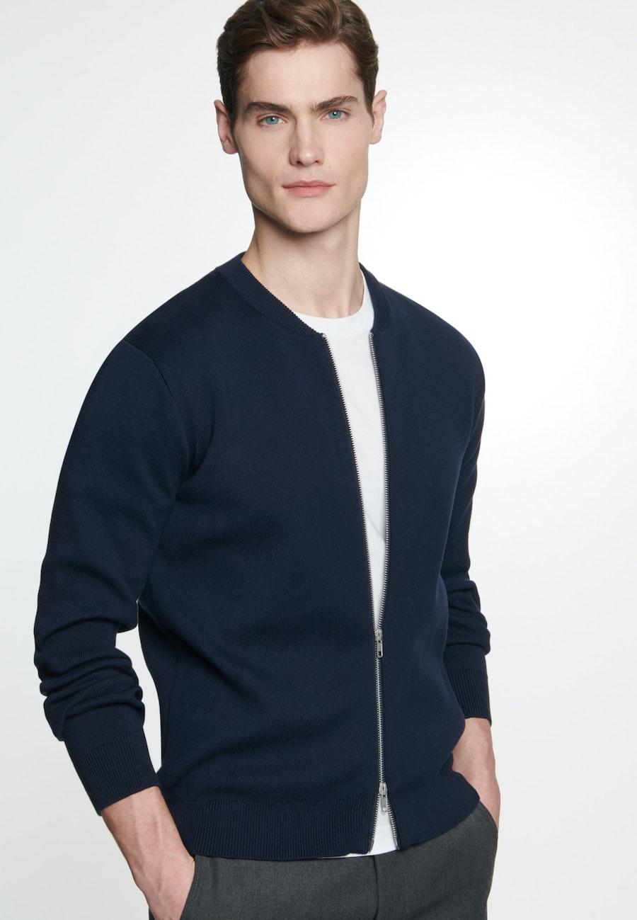 Knit Bomber made of 100% Cotton in Dark blue |  Seidensticker Onlineshop