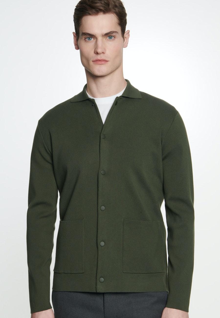 Collar Cardigan made of 100% Cotton in Green |  Seidensticker Onlineshop