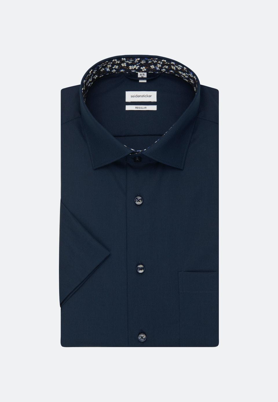 Non-iron Popeline Short sleeve Business Shirt in Regular with Kent-Collar in Dark blue |  Seidensticker Onlineshop