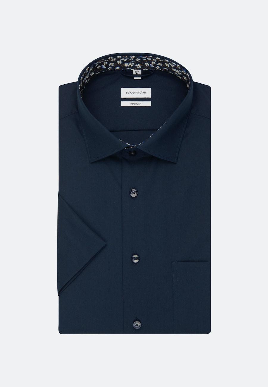 Bügelfreies Popeline Kurzarm Business Hemd in Regular mit Kentkragen in Dunkelblau |  Seidensticker Onlineshop
