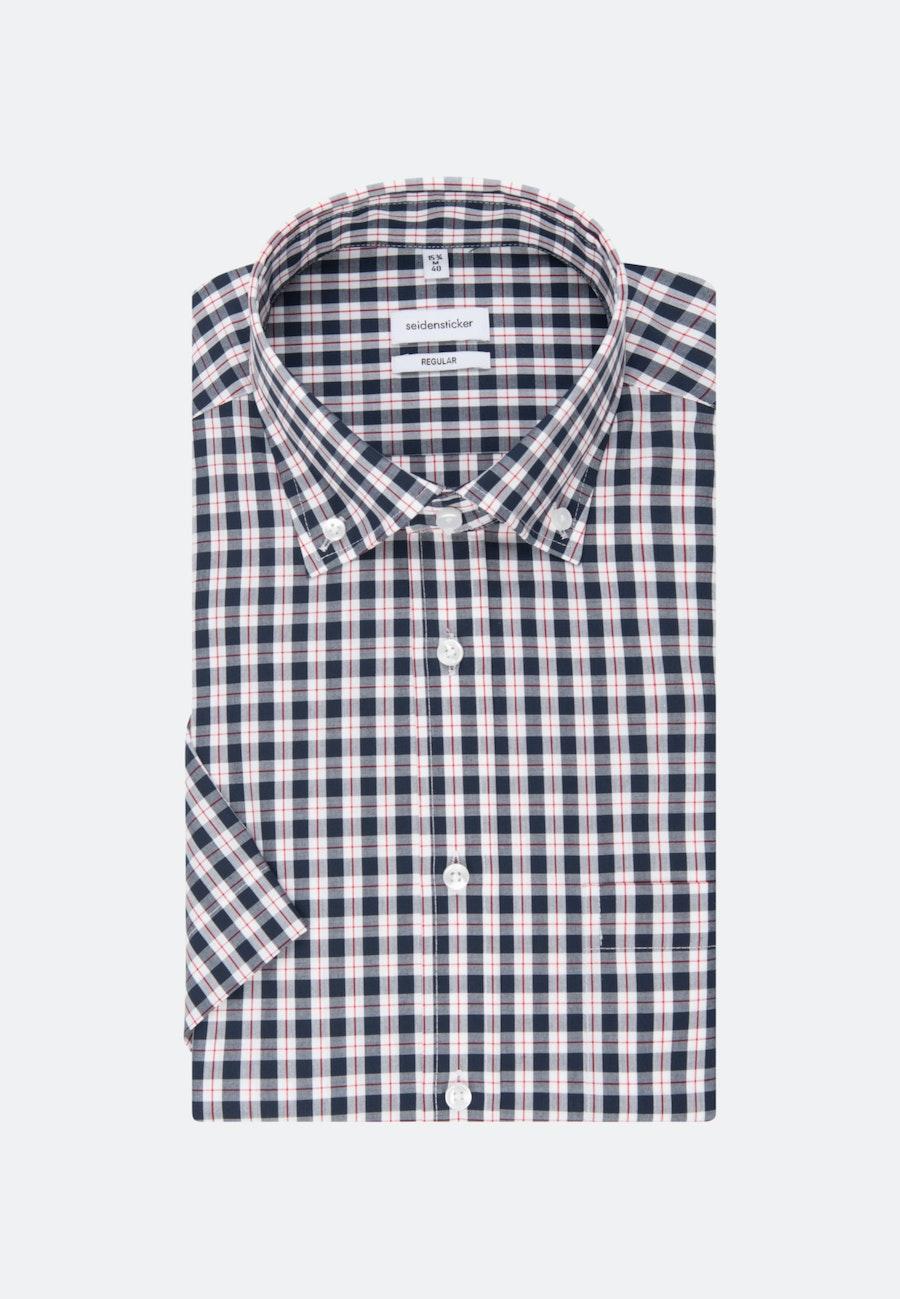 Bügelfreies Popeline Kurzarm Business Hemd in Regular mit Button-Down-Kragen in Dunkelblau |  Seidensticker Onlineshop