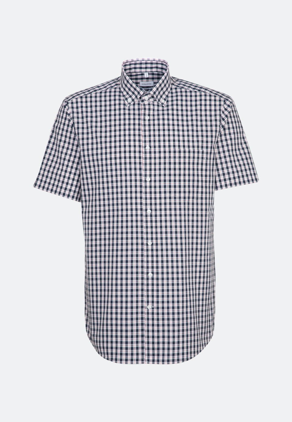 Non-iron Poplin Short sleeve Business Shirt in Regular with Button-Down-Collar in Dark blue |  Seidensticker Onlineshop