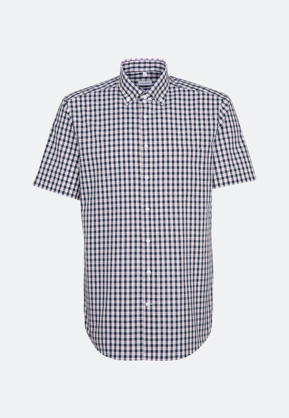 Bügelfreies Popeline Kurzarm Business Hemd in Regular mit Button-Down-Kragen in Dunkelblau    Seidensticker Onlineshop