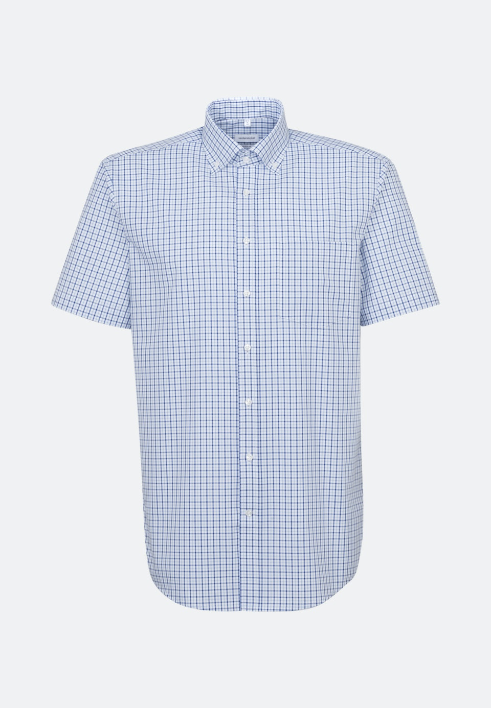 Non-iron Popeline Short sleeve Business Shirt in Regular with Button-Down-Collar in Medium blue |  Seidensticker Onlineshop