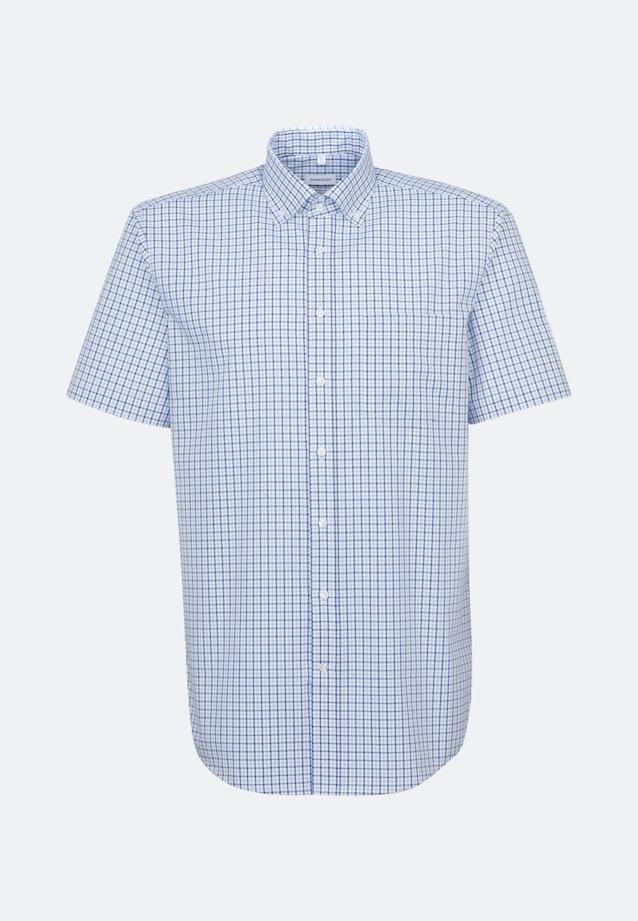 Non-iron Popeline Short sleeve Business Shirt in Regular with Button-Down-Collar in Medium blue |  Seidensticker Onlineshop