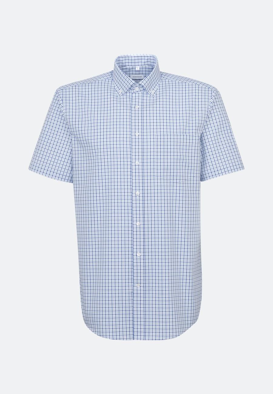 Non-iron Poplin Short sleeve Business Shirt in Regular with Button-Down-Collar in Medium blue |  Seidensticker Onlineshop