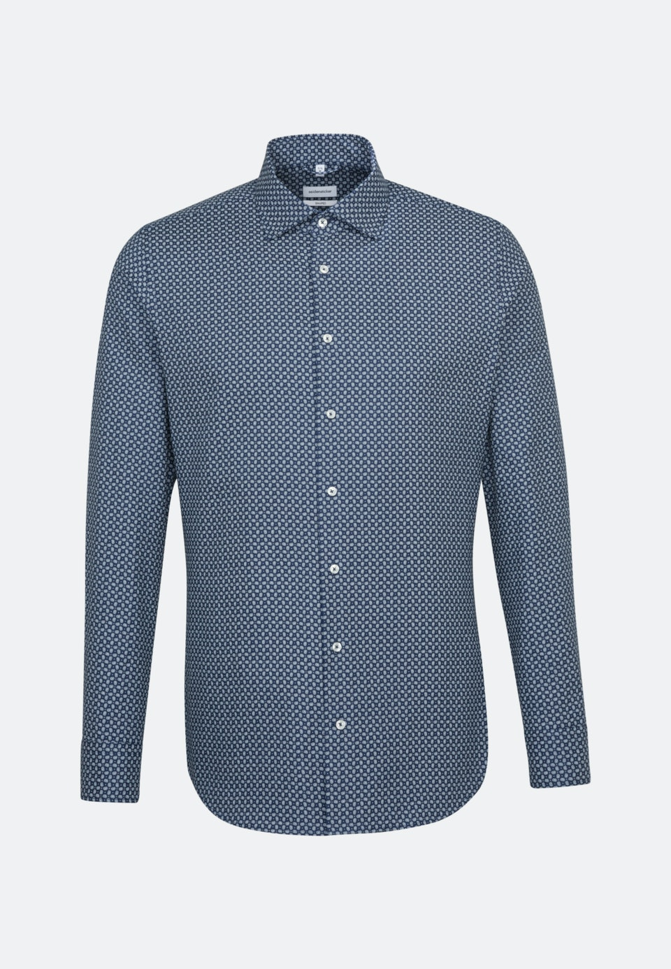 Easy-iron Struktur Business Shirt in Shaped with Kent-Collar and extra long sleeve in Medium blue    Seidensticker Onlineshop