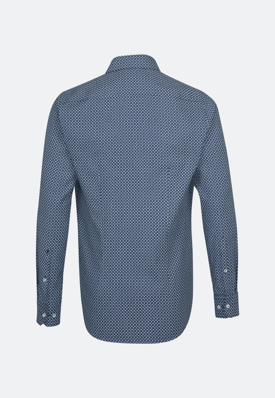 Easy-iron Structure Business Shirt in Shaped with Kent-Collar and extra long sleeve in Medium blue |  Seidensticker Onlineshop