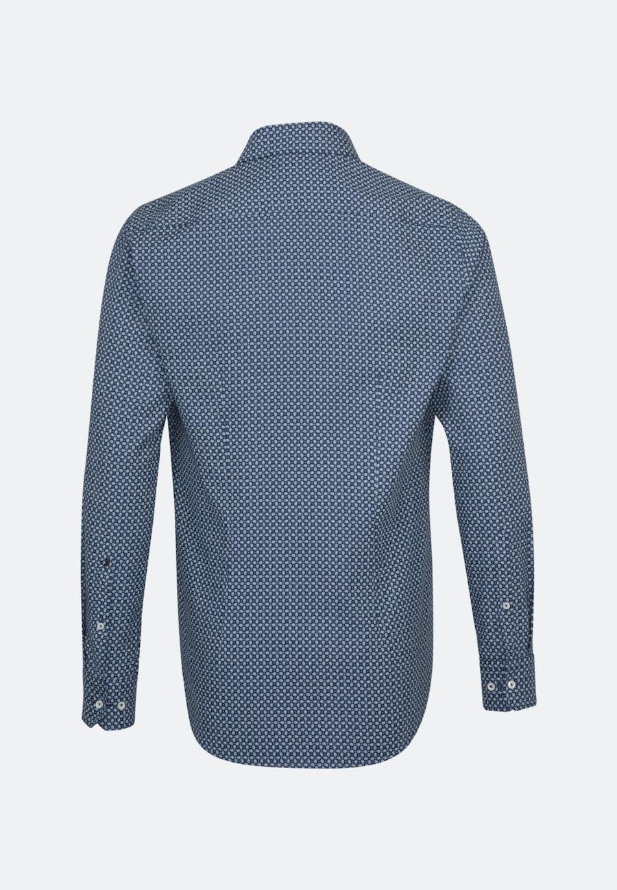 Bügelleichtes Struktur Business Hemd in Shaped mit Kentkragen und extra langem Arm in Mittelblau |  Seidensticker Onlineshop