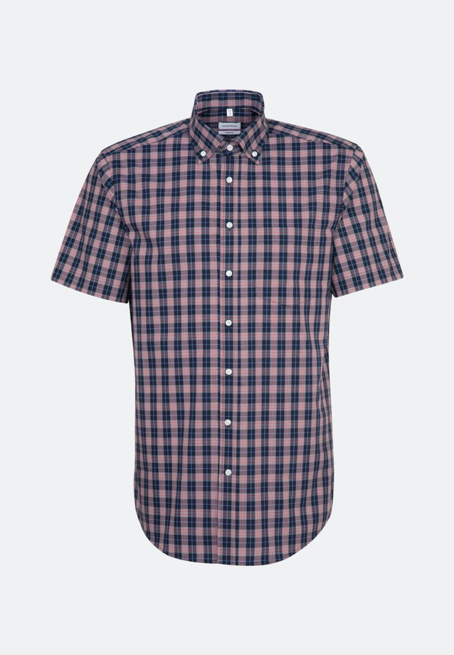 Non-iron Popeline Short sleeve Business Shirt in Comfort with Button-Down-Collar in Red |  Seidensticker Onlineshop
