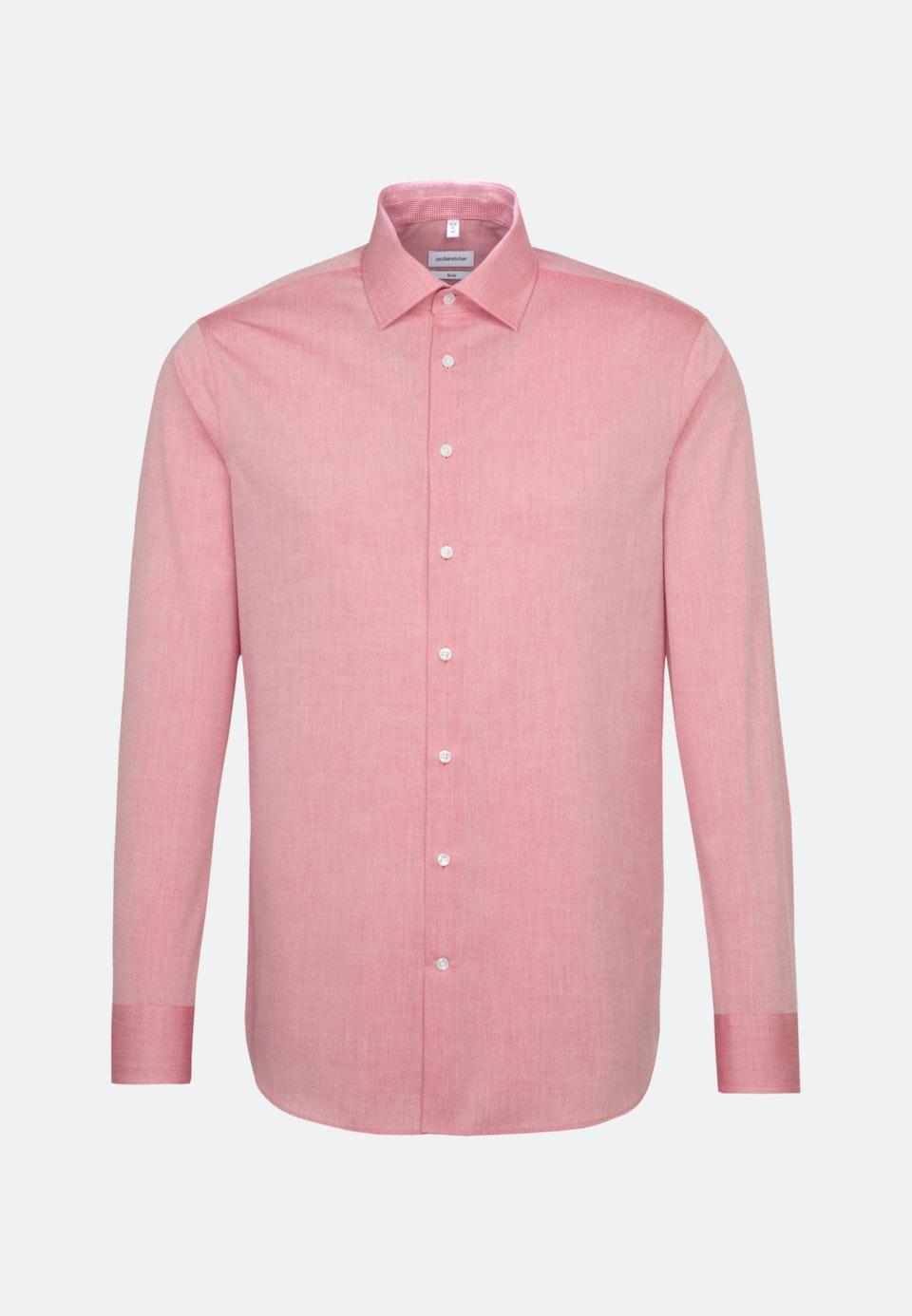 Bügelfreies Chambray Business Hemd in Slim mit Kentkragen und extra langem Arm in Rot |  Seidensticker Onlineshop