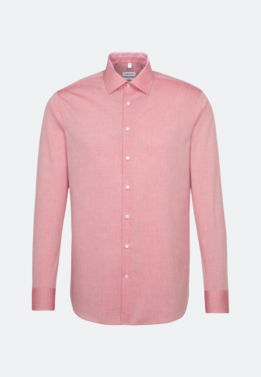 Bügelfreies Chambray Business Hemd in Slim mit Kentkragen und extra langem Arm in Rot    Seidensticker Onlineshop