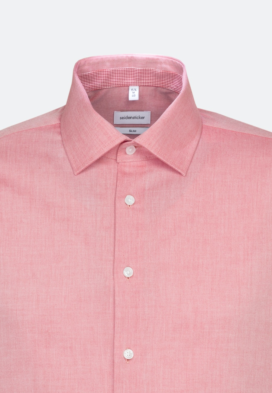 Non-iron Chambray Business Shirt in Slim with Kent-Collar and extra long sleeve in Red |  Seidensticker Onlineshop