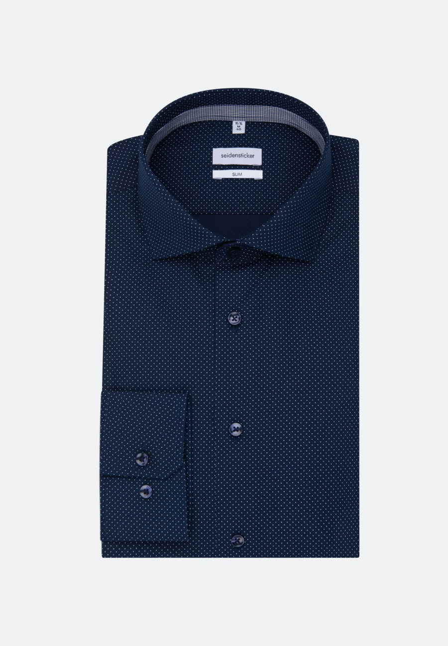 Easy-iron Popeline Business Shirt in Slim with Kent-Collar and extra long sleeve in Dark blue |  Seidensticker Onlineshop