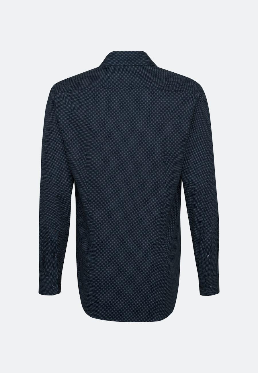 Bügelleichtes Popeline Business Hemd in Slim mit Kentkragen und extra langem Arm in Dunkelblau |  Seidensticker Onlineshop