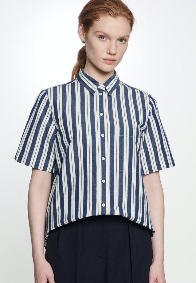 Short sleeve Shirt Blouse made of silk-linen blend in Dark blue |  Seidensticker Onlineshop