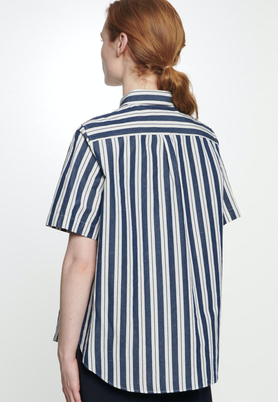 Kurzarm Leinwandbindung Hemdbluse aus Seiden-Leinenmischung in Dunkelblau |  Seidensticker Onlineshop