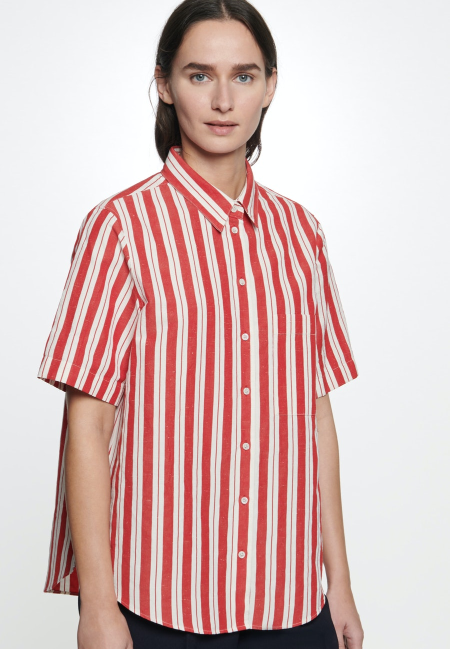 Short sleeve Shirt Blouse made of silk-linen blend in Red |  Seidensticker Onlineshop