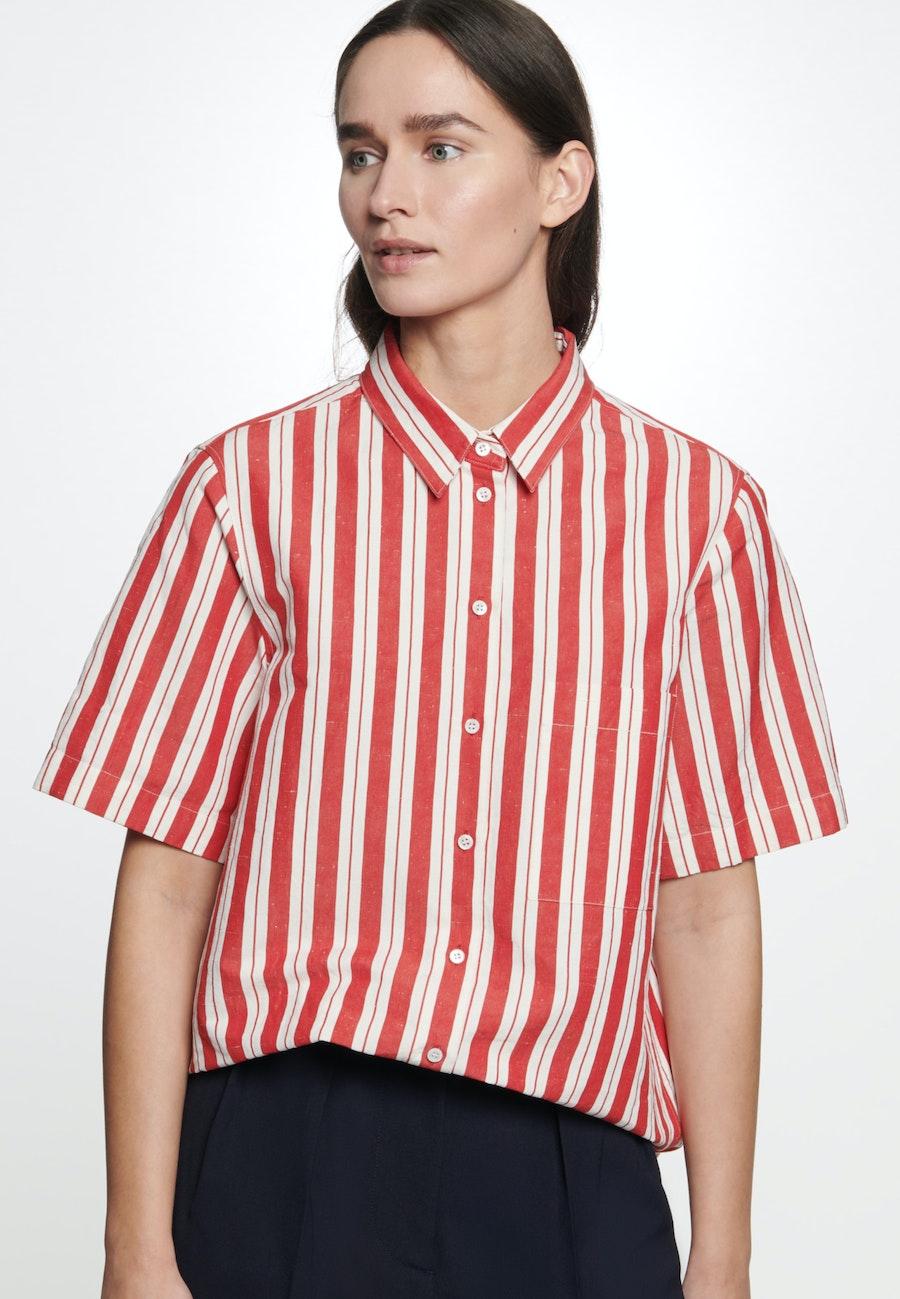 Short sleeve Leinwandbindung Shirt Blouse made of silk-linen blend in Red |  Seidensticker Onlineshop
