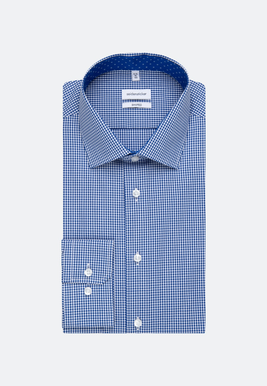 Non-iron Poplin Business Shirt in Shaped with Kent-Collar in Medium blue |  Seidensticker Onlineshop