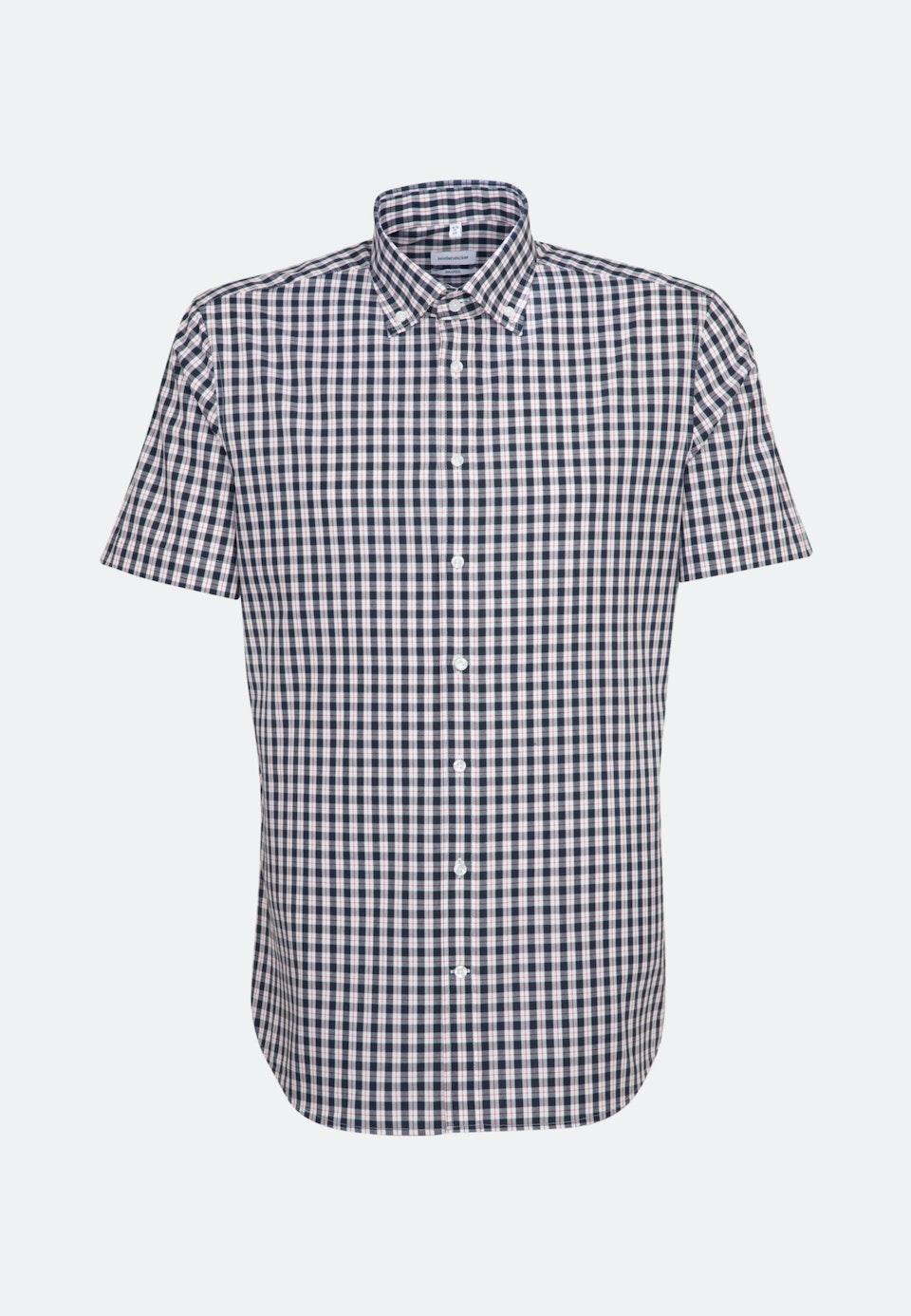 Non-iron Popeline Short sleeve Business Shirt in Shaped with Button-Down-Collar in Dark blue |  Seidensticker Onlineshop