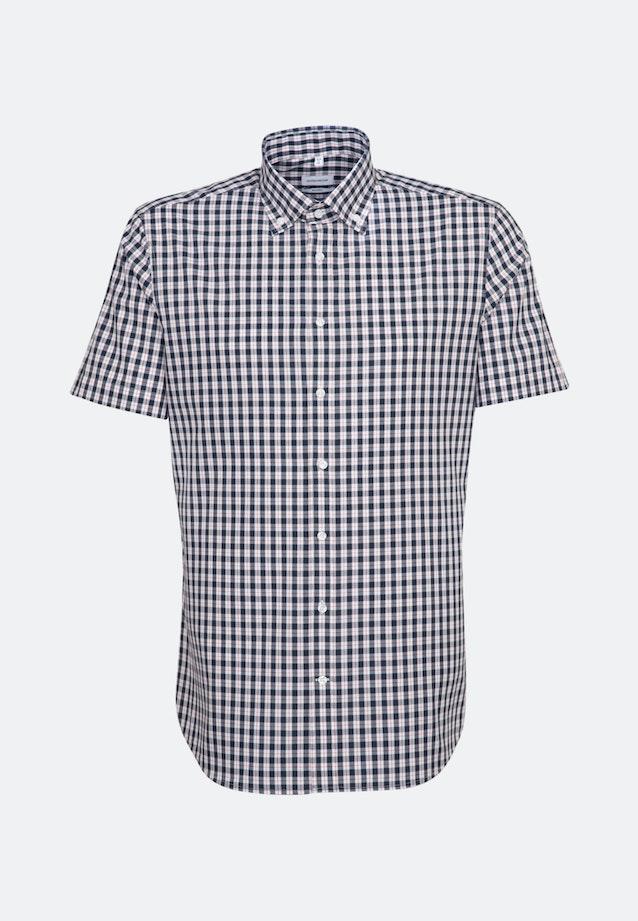 Bügelfreies Popeline Kurzarm Business Hemd in Shaped mit Button-Down-Kragen in Dunkelblau |  Seidensticker Onlineshop