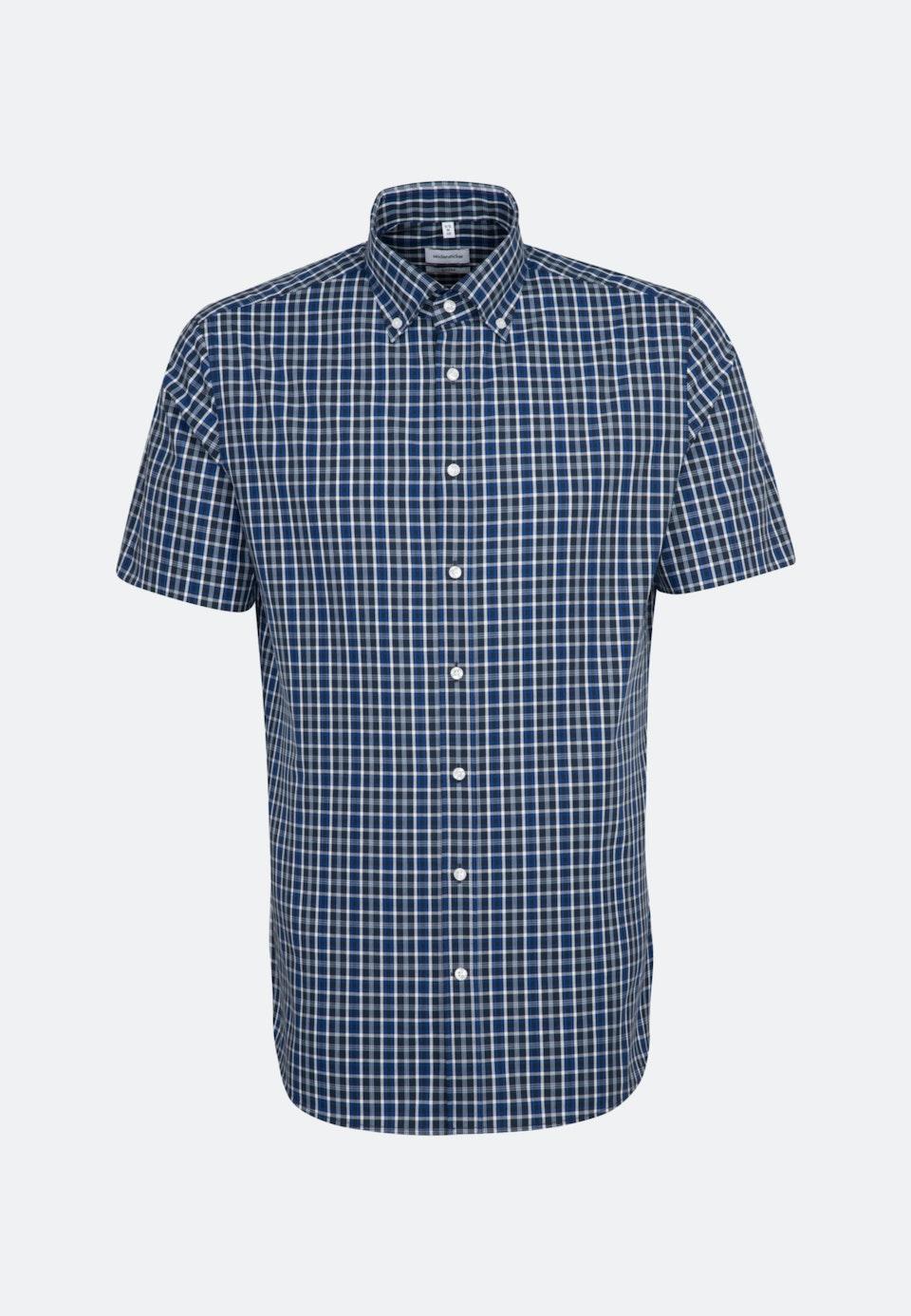 Non-iron Poplin Short sleeve Business Shirt in Shaped with Button-Down-Collar in Medium blue |  Seidensticker Onlineshop
