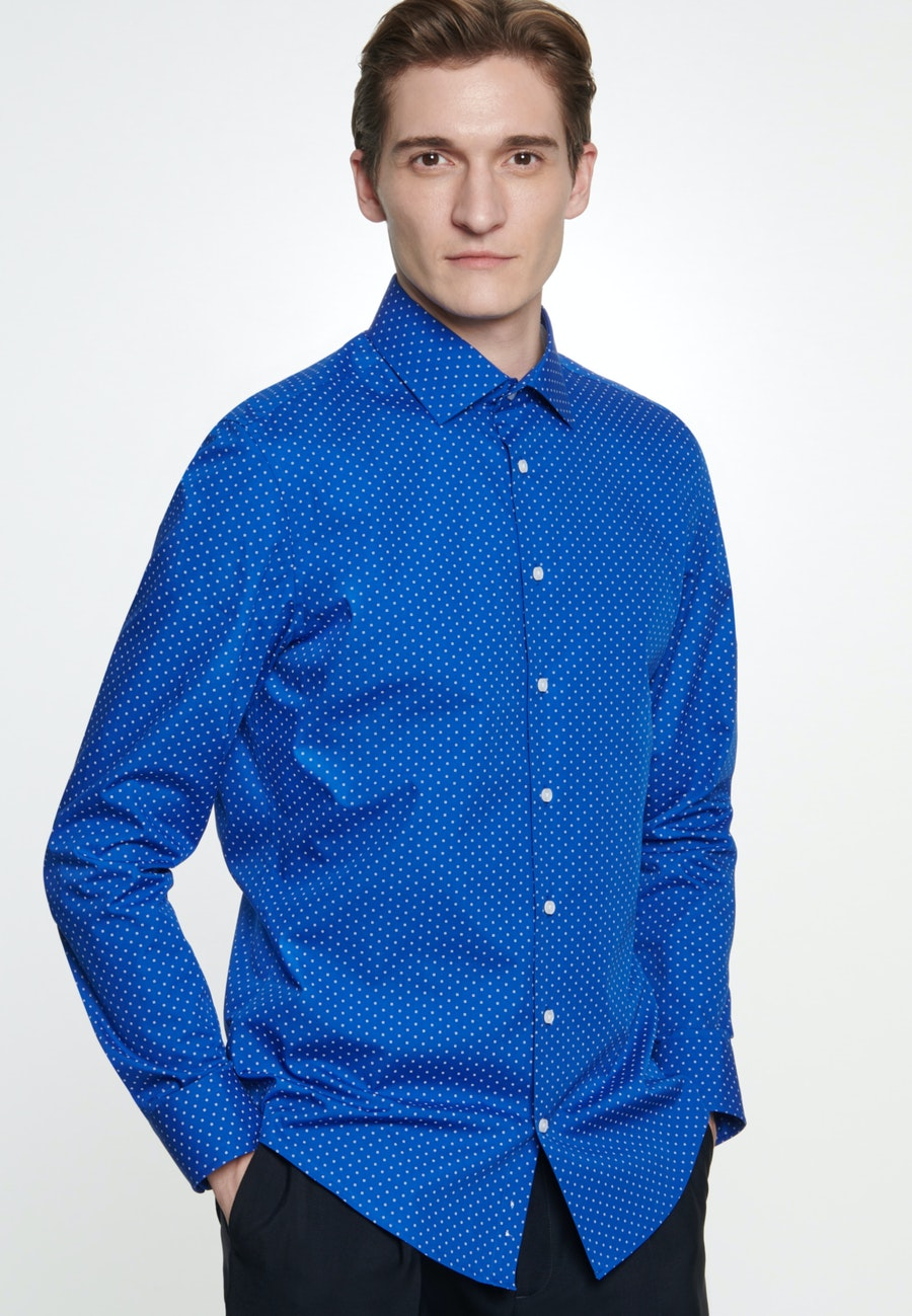 Easy-iron Popeline Business Shirt in Shaped with Kent-Collar in Medium blue |  Seidensticker Onlineshop