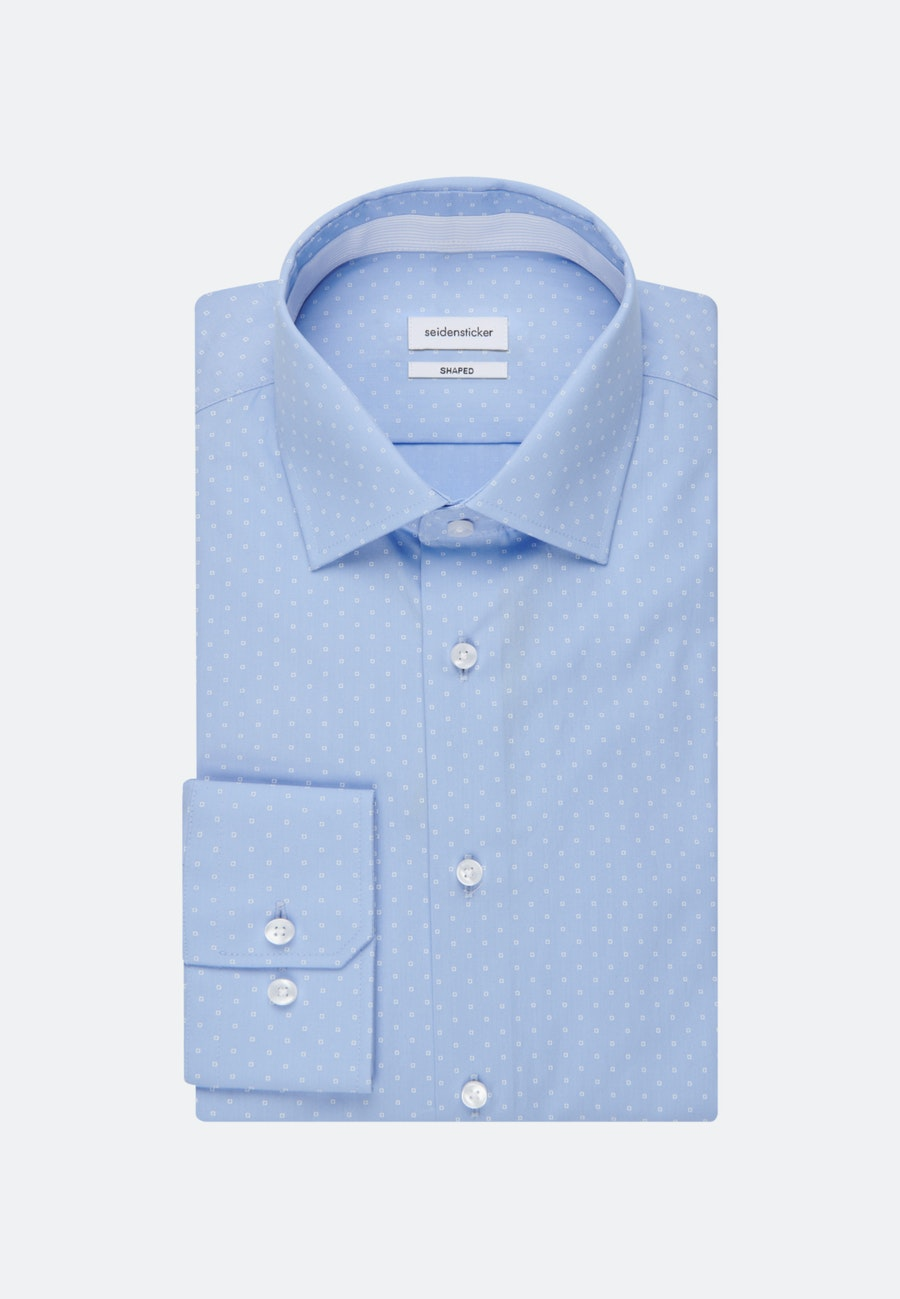 Easy-iron Popeline Business Shirt in Shaped with Kent-Collar in Light blue |  Seidensticker Onlineshop