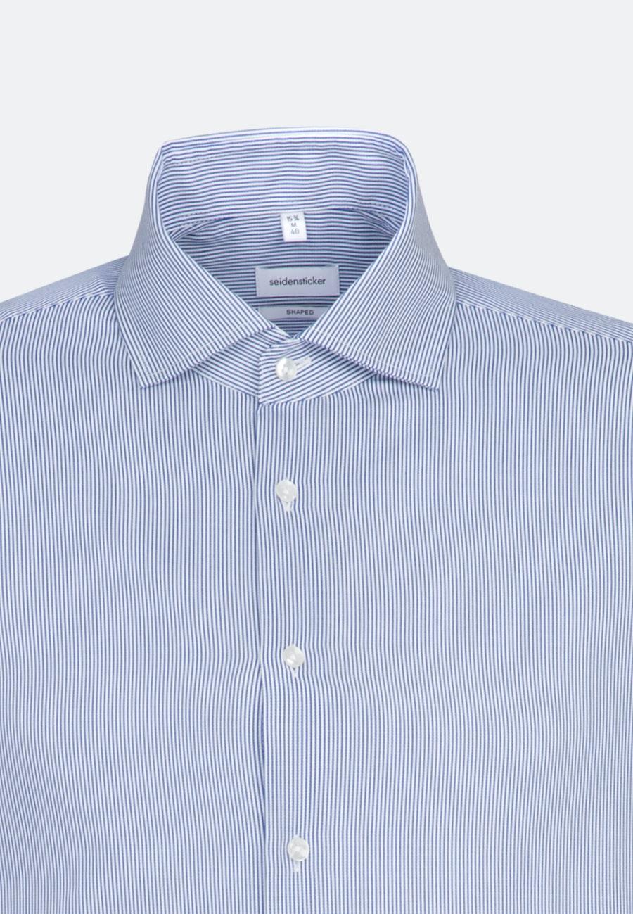 Bügelleichtes Cotele Business Hemd in Shaped mit Kentkragen in Mittelblau |  Seidensticker Onlineshop