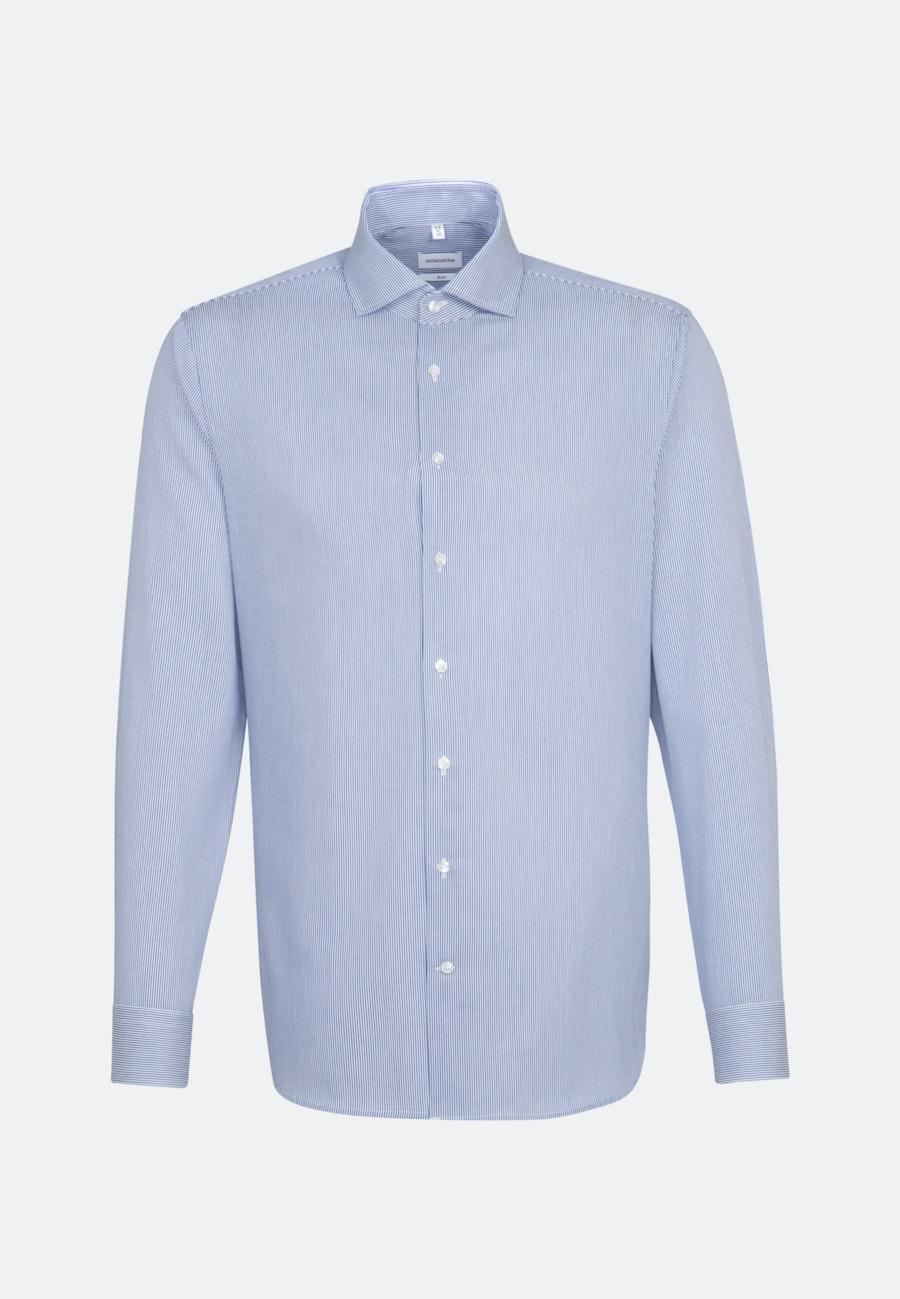 Bügelleichtes Cotele Business Hemd in Slim mit Kentkragen in Mittelblau |  Seidensticker Onlineshop