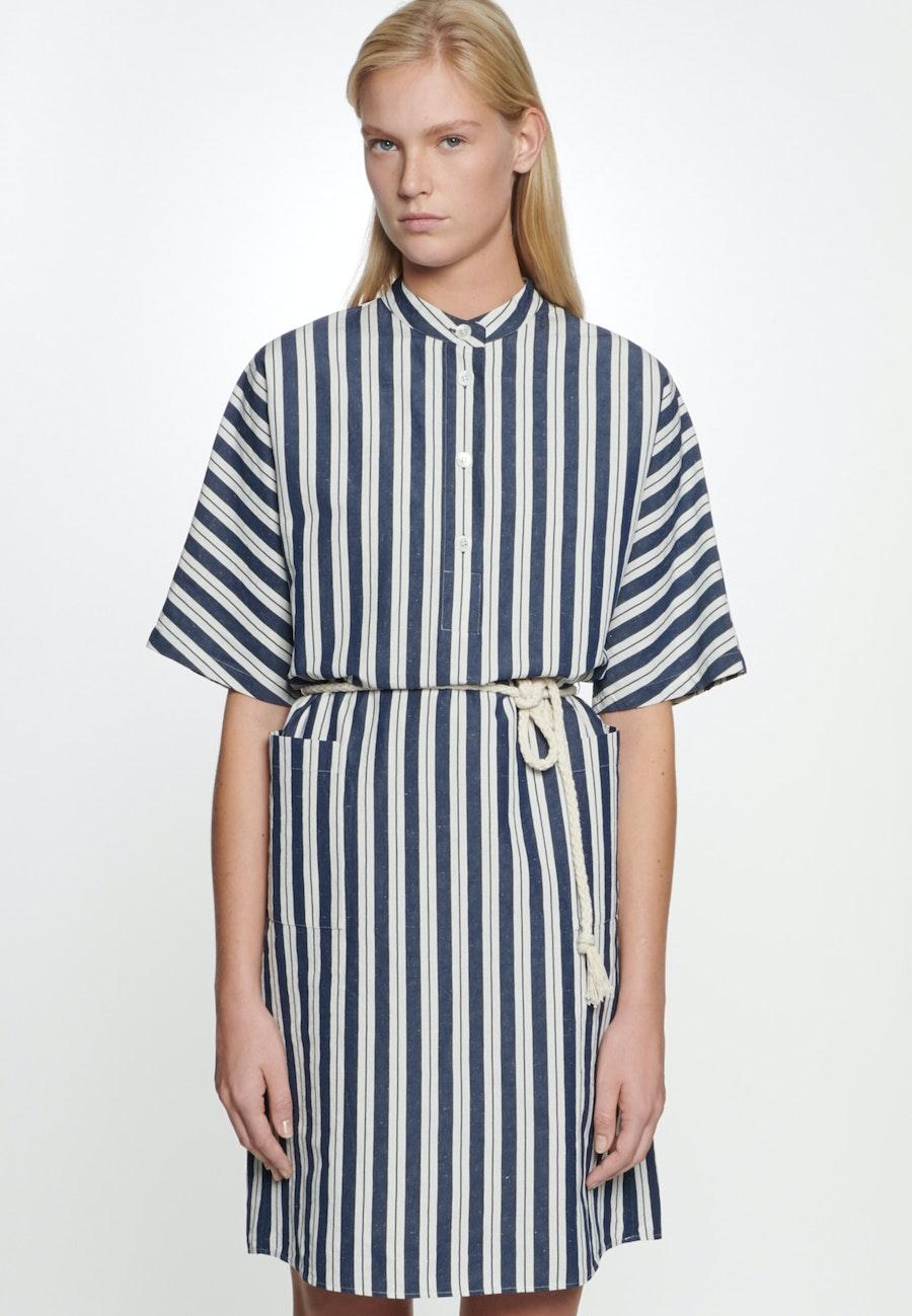 Midi Dress made of silk-linen blend in Dark blue |  Seidensticker Onlineshop