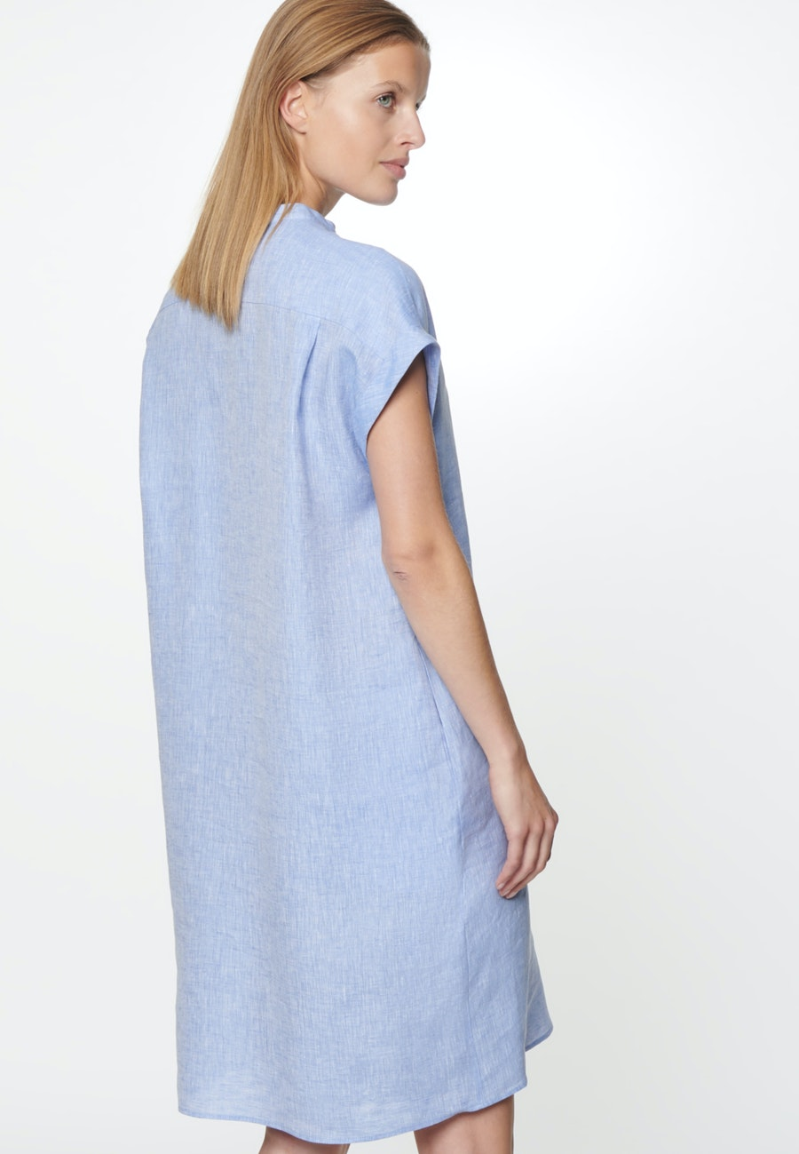 Sleeveless Linen Midi Dress made of 100% Linen in Medium blue |  Seidensticker Onlineshop