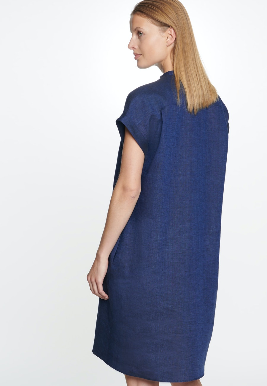 Sleeveless Linen Midi Dress made of 100% Linen in Dark blue    Seidensticker Onlineshop