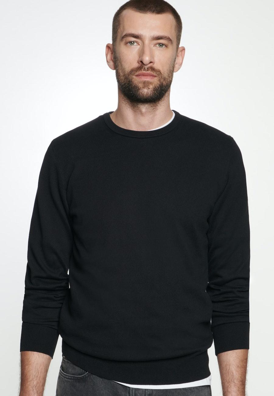 Rundhals Pullover aus 100% Baumwolle in Schwarz    Seidensticker Onlineshop