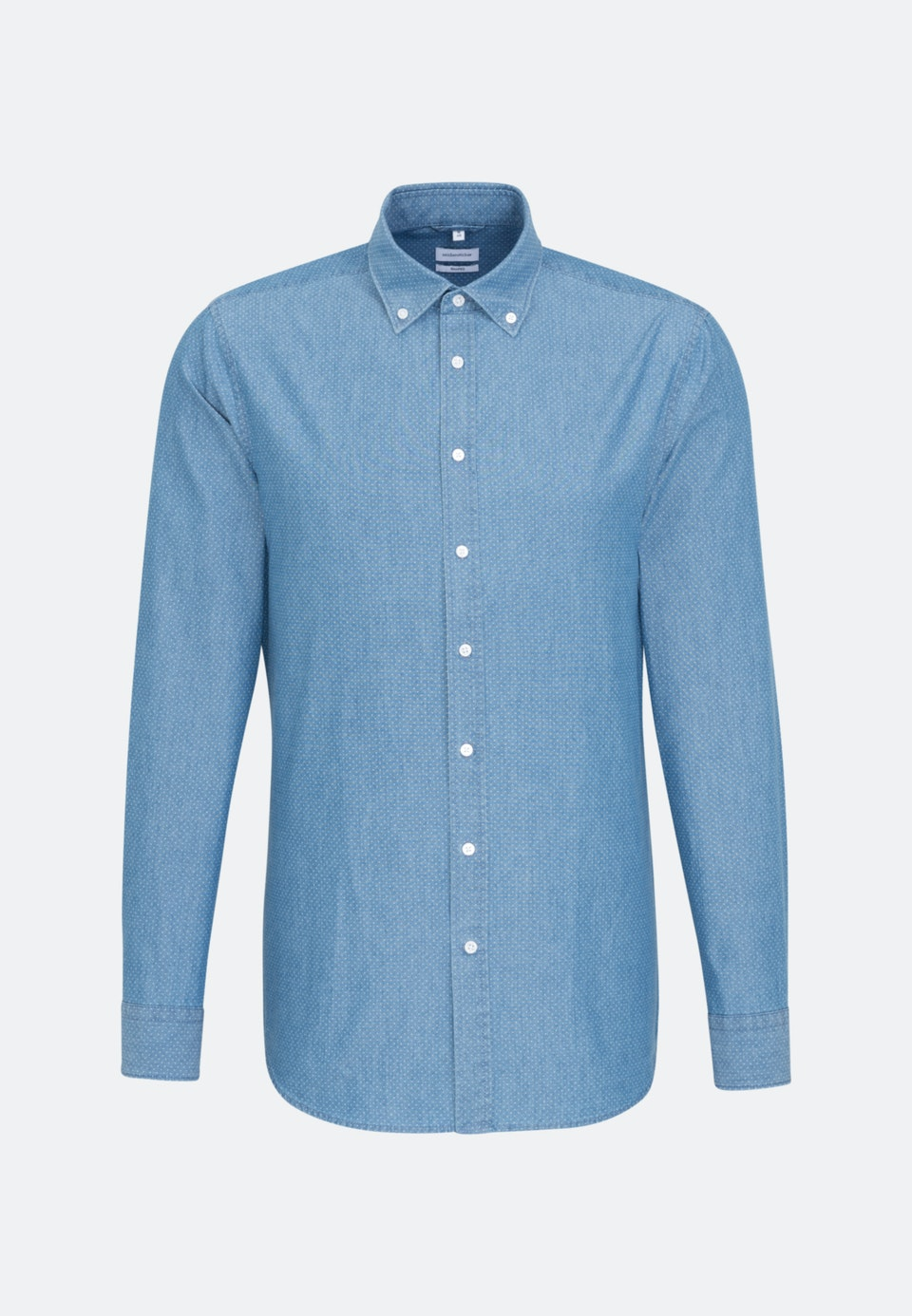 Easy-iron Chambray Business Shirt in Shaped with Button-Down-Collar in Medium blue |  Seidensticker Onlineshop