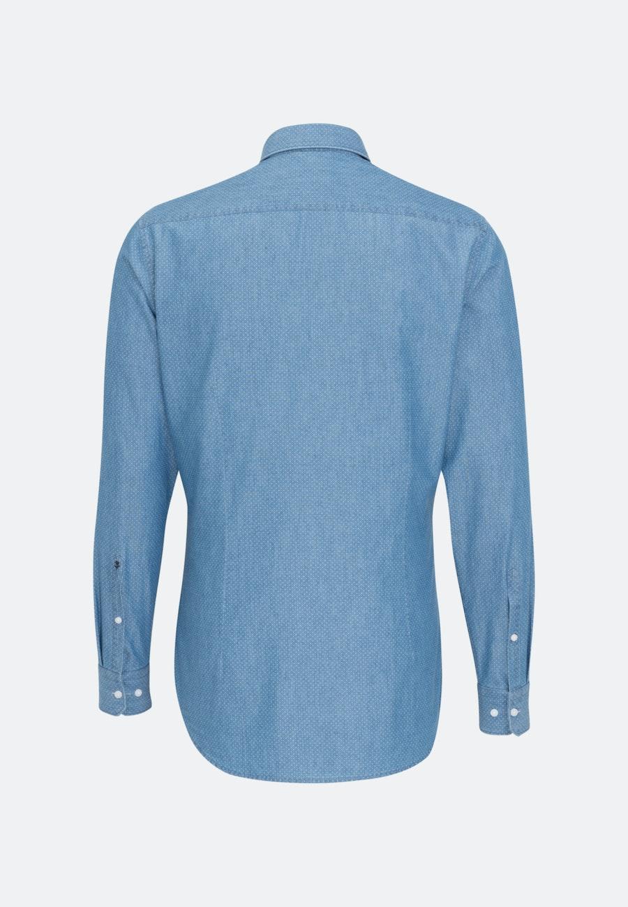 Bügelleichtes Chambray Business Hemd in Shaped mit Button-Down-Kragen in Mittelblau |  Seidensticker Onlineshop
