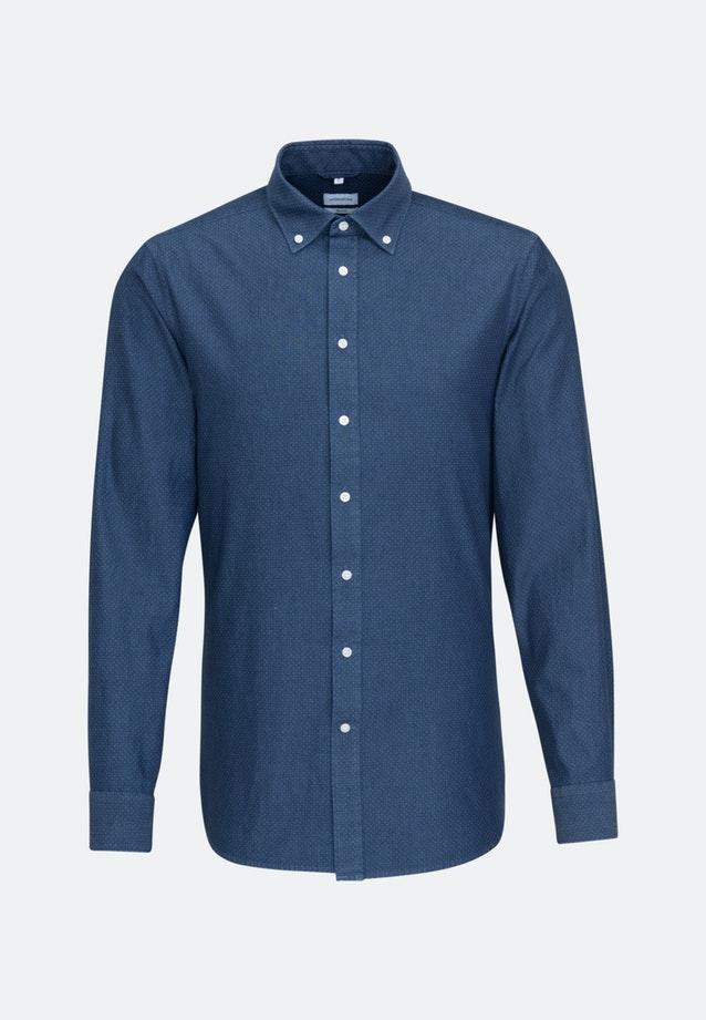 Bügelleichtes Chambray Business Hemd in Shaped mit Button-Down-Kragen in Dunkelblau |  Seidensticker Onlineshop