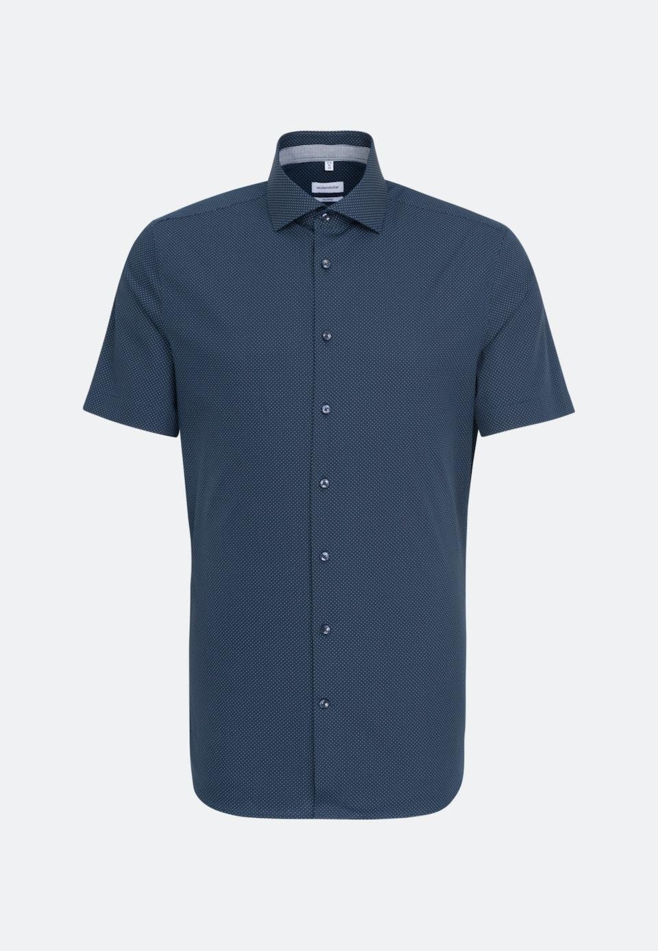 Bügelleichtes Popeline Kurzarm Business Hemd in Shaped mit Kentkragen in Dunkelblau    Seidensticker Onlineshop