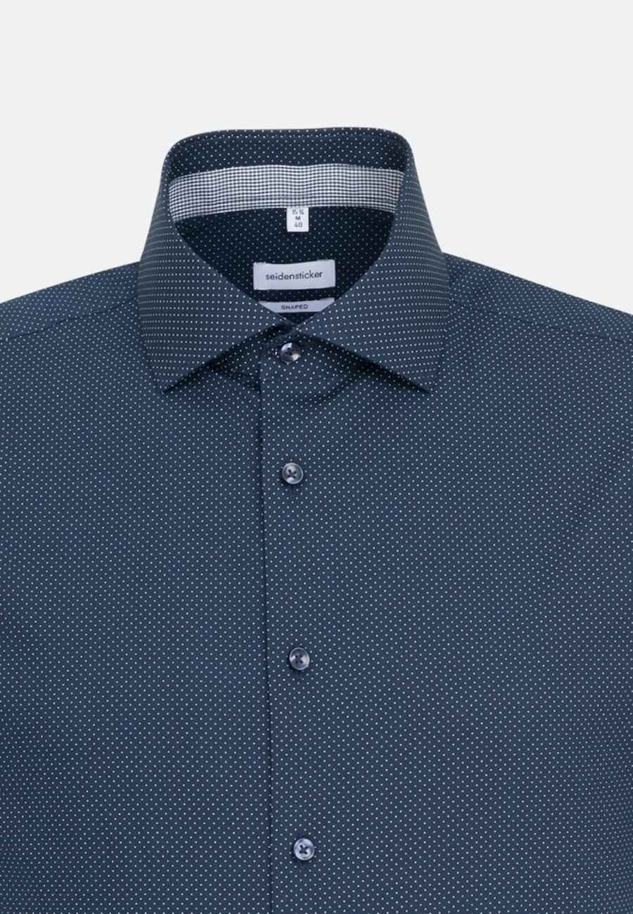 Easy-iron Poplin Short sleeve Business Shirt in Shaped with Kent-Collar in Dark blue    Seidensticker Onlineshop