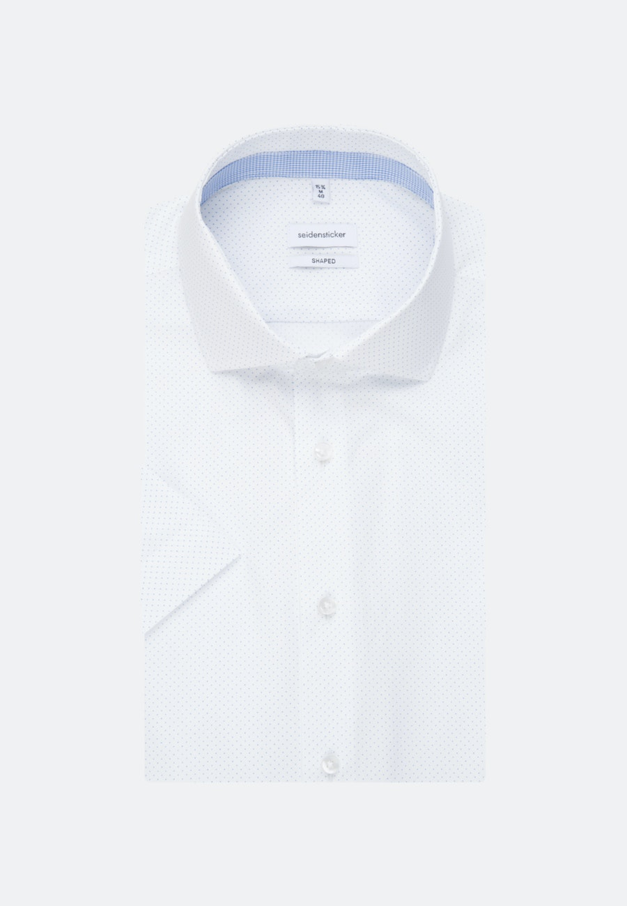 Easy-iron Popeline Short sleeve Business Shirt in Shaped with Kent-Collar in White |  Seidensticker Onlineshop