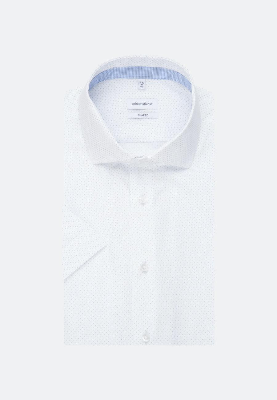 Bügelleichtes Popeline Kurzarm Business Hemd in Shaped mit Kentkragen in Weiß |  Seidensticker Onlineshop
