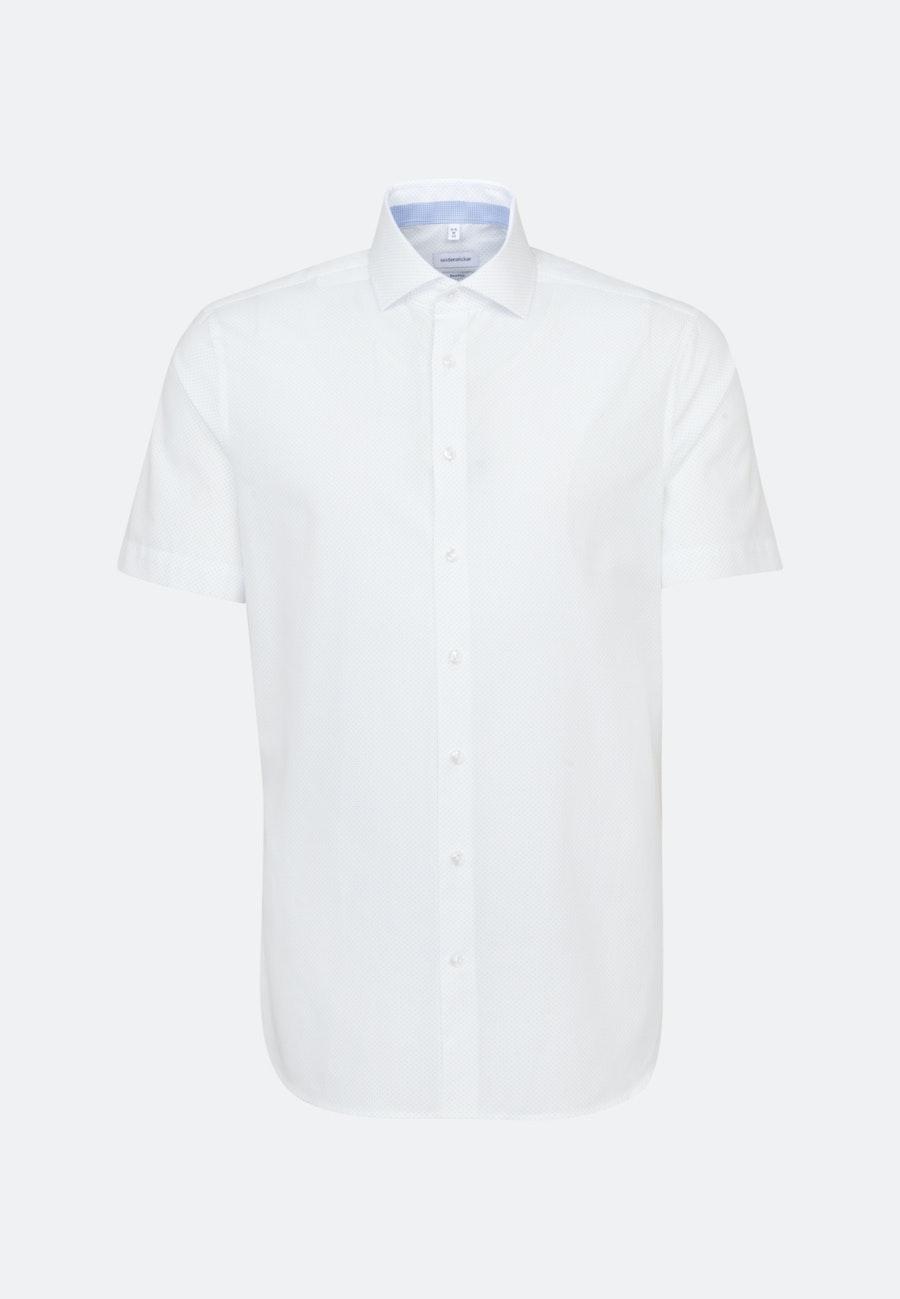 Easy-iron Poplin Short sleeve Business Shirt in Shaped with Kent-Collar in White    Seidensticker Onlineshop