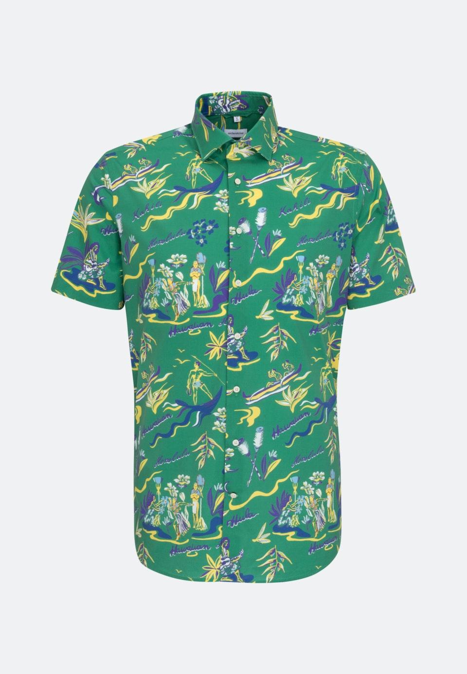 Easy-iron Poplin Short sleeve Business Shirt in Shaped with Kent-Collar in Green    Seidensticker Onlineshop