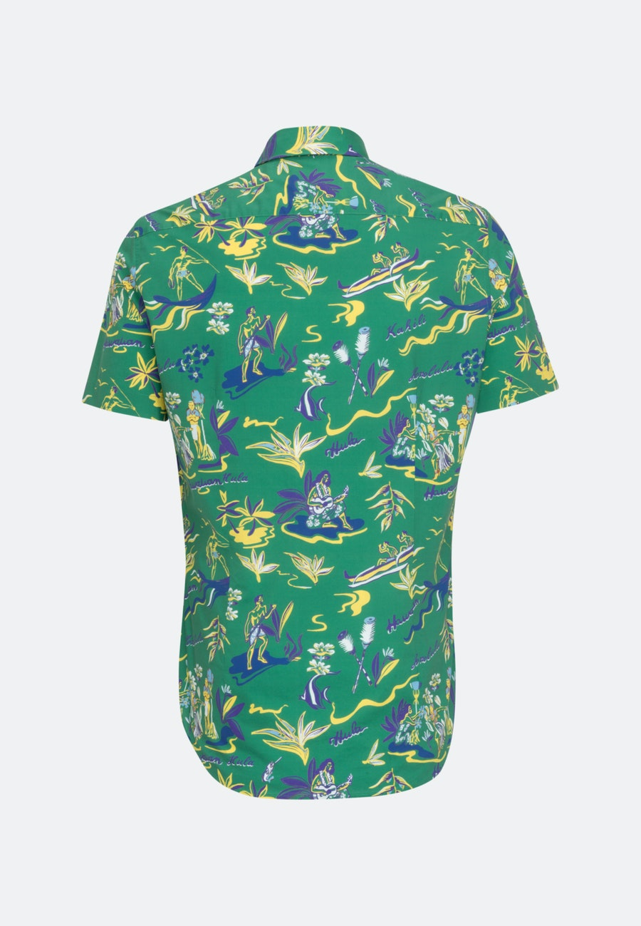 Easy-iron Popeline Short sleeve Business Shirt in Shaped with Kent-Collar in Green |  Seidensticker Onlineshop