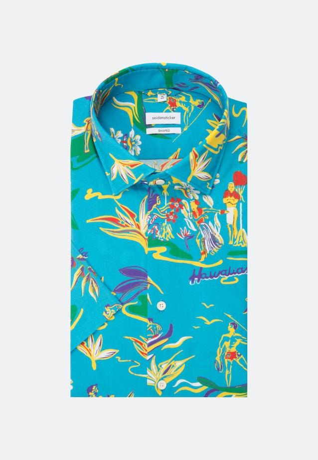 Bügelleichtes Popeline Kurzarm Business Hemd in Shaped mit Kentkragen in Türkis/Petrol |  Seidensticker Onlineshop