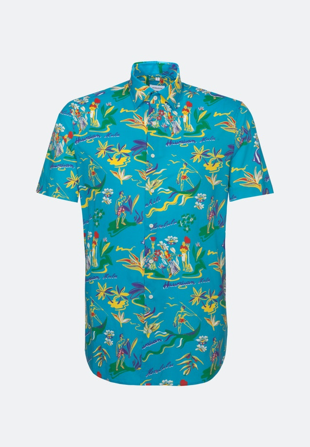 Easy-iron Popeline Short sleeve Business Shirt in Shaped with Kent-Collar in Turquoise    Seidensticker Onlineshop